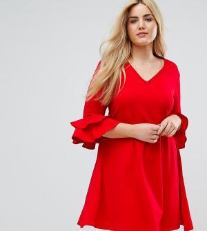 Praslin Платье с V-образным вырезом и рукавами клеш. Цвет: красный