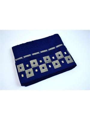 Махровое полотенце шахмат. синий 70*140-100% хлопок, в коробке УзТ-ПМ-114-09-19к Aisha. Цвет: синий