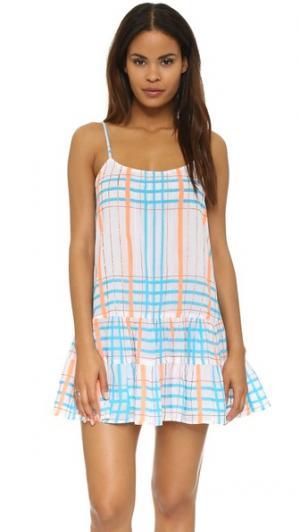 Пляжное мини-платье в клетку Juliet Dunn. Цвет: белый/голубой/оранжевый