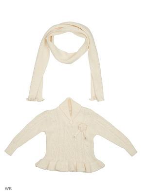 Кофточка с шарфом Vienetta Kids. Цвет: молочный