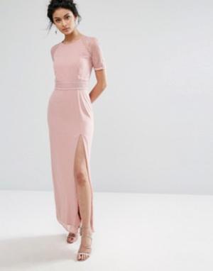 Elise Ryan Платье макси с кружевной отделкой на рукавах и спине. Цвет: розовый