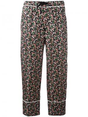 Укороченные брюки с цветочным узором Moncler. Цвет: чёрный