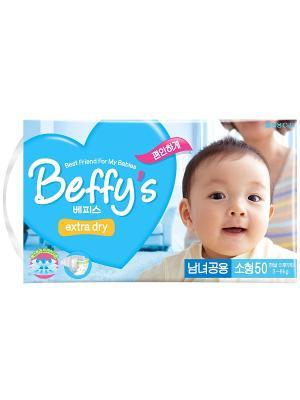 Подгузники Beffys extra dry для детей размер S (3-8 кг.), 50 шт. Beffy's. Цвет: синий