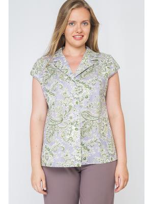 Блузки Limonti. Цвет: зеленый, белый, сиреневый