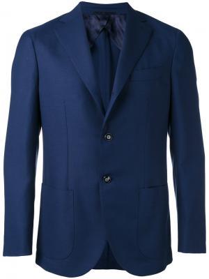 Пиджак с накладными карманами Barba. Цвет: синий
