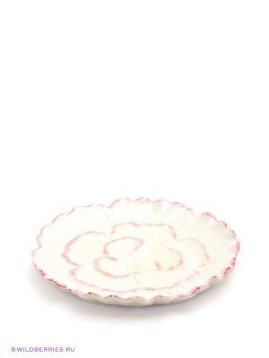 Десертная тарелка Гвоздика Pavone. Цвет: молочный, бледно-розовый