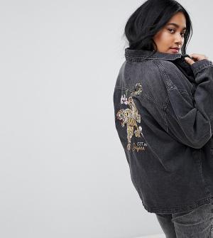 Chorus Plus Джинсовая куртка оверсайз с вышивкой тигра. Цвет: черный