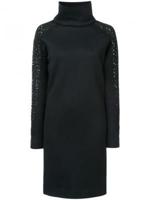 Трикотажное платье с отворотной горловиной Akris Punto. Цвет: чёрный