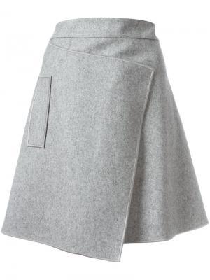 Асимметричная юбка с запахом Carven. Цвет: серый