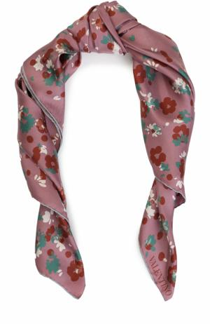 Шелковый платок с принтом Valentino. Цвет: розовый