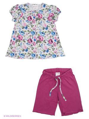 Комплект трикотажный для девочек: фуфайка (футболка), шорты PlayToday. Цвет: малиновый