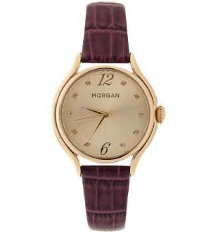 Часы с фиолетовым ремешком текстурной обработкой под крокодила Morgan