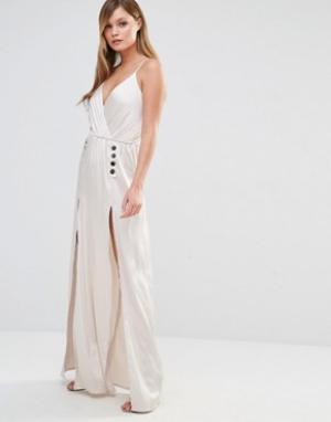 Dark Pink Шелковистое платье‑комбинация макси с пуговицами. Цвет: бежевый