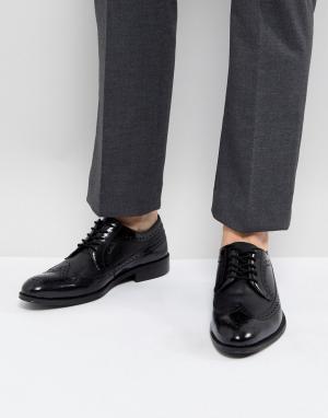 Zign Черные кожаные броги. Цвет: черный