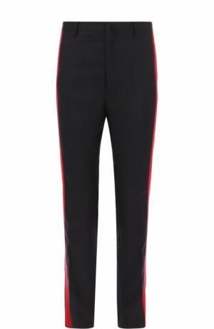 Шерстяные брюки прямого кроя с контрастными лампасами Lanvin. Цвет: темно-синий