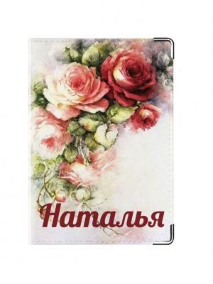 Обложка для паспорта Наталья Tina Bolotina. Цвет: светло-серый, красный, розовый