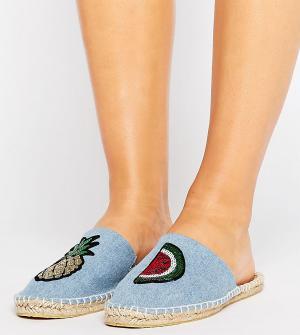ASOS Эспадрильи-сабо для широкой стопы с нашивками JAMMING. Цвет: синий
