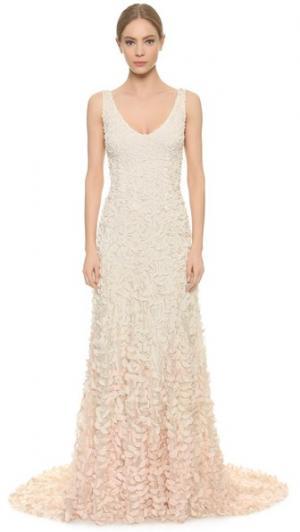 Вечернее платье Emma с вышитыми лепестками Theia. Цвет: розовый