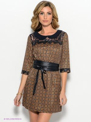 Платье FRENCH HINT. Цвет: темно-синий, коричневый
