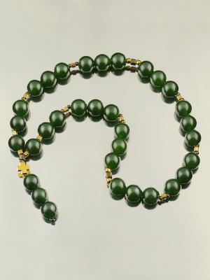 Православные четки 33 камня нефрит Мастерская Морозова. Цвет: темно-зеленый,золотистый