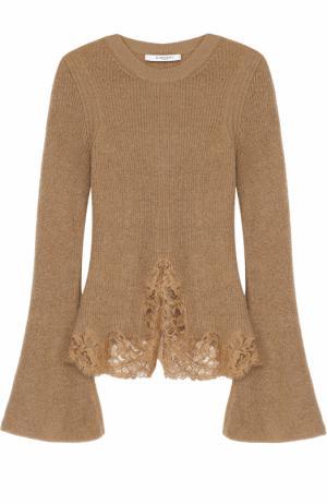 Вязаный пуловер с расклешенными рукавами и кружевной отделкой Givenchy. Цвет: бежевый