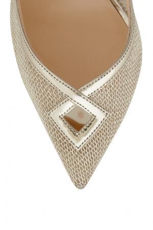 Туфли из металлизированной кожи Neoalto 100 Christian Louboutin. Цвет: золотой