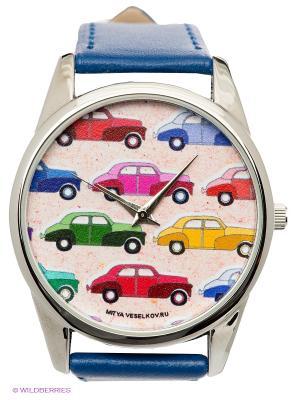 Часы Mitya Veselkov Цветные машинки. Цвет: синий
