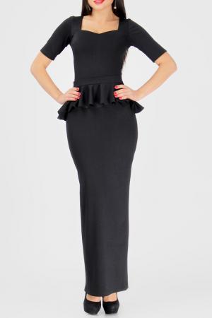 Облегающее платье со съемной баской BERENIS. Цвет: черный