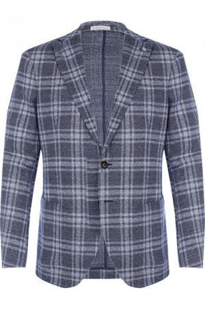 Однобортный пиджак из смеси хлопка и льна Sartoria Latorre. Цвет: синий