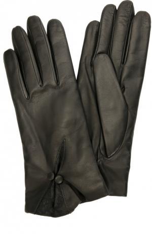 Кожаные перчатки с декором Sermoneta Gloves. Цвет: черный