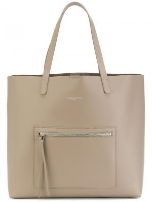 Большая сумка-тоут с карманом на молнии Lancaster. Цвет: телесный