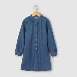 Платье с длинными рукавами из денима 3-12 лет R essentiel. Цвет: синий потертый