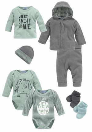 Комплект для младенца, 8 частей KLITZEKLEIN. Цвет: темно-серый/мятный