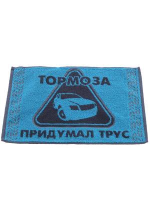 Полотенце махровое пестротканое жаккардовое 30x50см Тормоза придумал трус, Автолюбителям Авангард. Цвет: серый, голубой