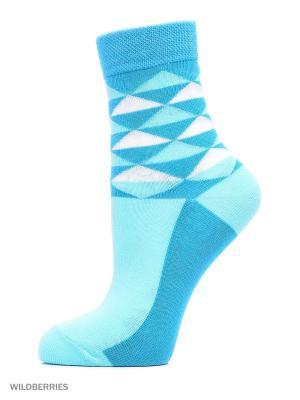 Классические носки с рисунком(3 пары) HOSIERY. Цвет: голубой