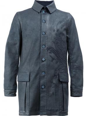 Пальто с вышивкой Rochas. Цвет: синий