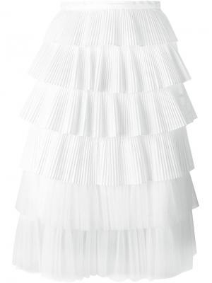 Многослойная плиссированная юбка Rochas. Цвет: белый