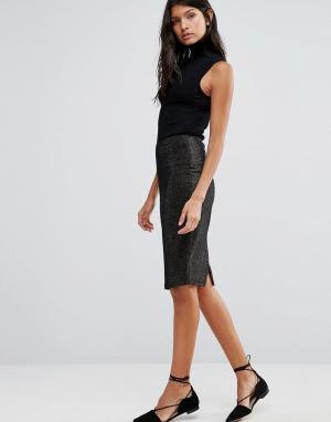 Pixie & Diamond Облегающая юбка из люрекса. Цвет: золотой