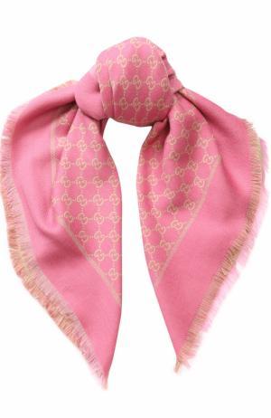 Платок с принтом Gucci. Цвет: розовый
