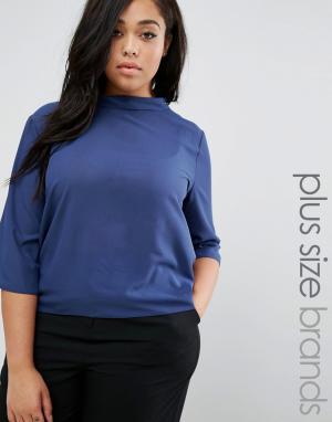 Elvi Блузка с высокой горловиной Plus. Цвет: темно-синий