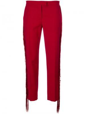 Укороченные брюки с бахромой Marco De Vincenzo. Цвет: красный