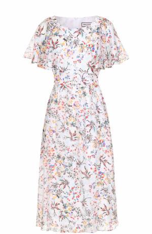Шелковое приталенное платье с цветочным принтом Paul&Joe. Цвет: разноцветный