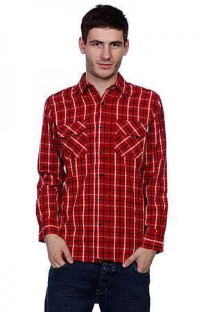 Рубашка в клетку  Control Button Up Red/Navy/White Independent. Цвет: красный