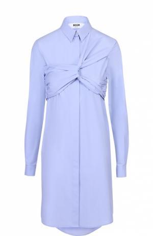 Платье-рубашка с декоративной драпировкой MSGM. Цвет: голубой