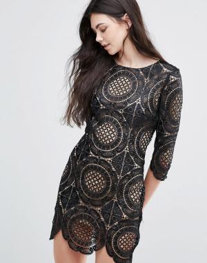 Goldie Кружевное платье мини с вышивкой London Calling. Цвет: черный