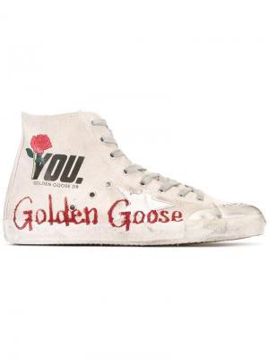 Кеды на шнуровке с принтом логотипа Golden Goose Deluxe Brand. Цвет: телесный
