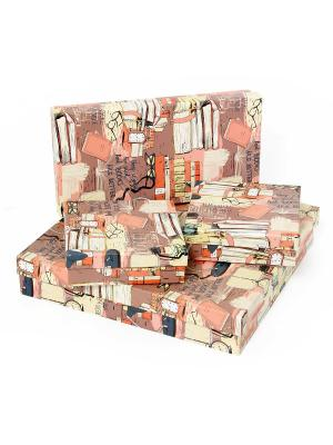 Подарочная коробка VELD-CO. Цвет: коричневый, коралловый, кремовый