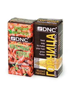 Набор масок для ухода за волосами: Горчица роста; Красный перец от выпадения (2х100г) DNC. Цвет: бледно-розовый, горчичный
