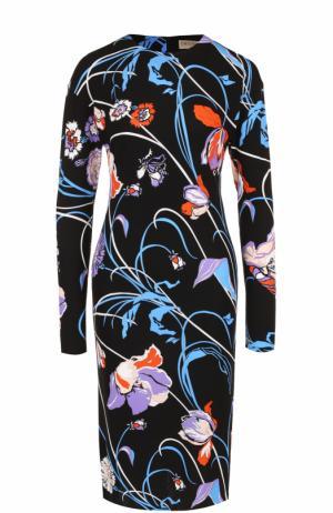 Приталенное платье с длинным рукавом и цветочным принтом Emilio Pucci. Цвет: черный