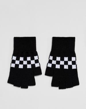 ASOS Перчатки без пальцев в клетку. Цвет: черный